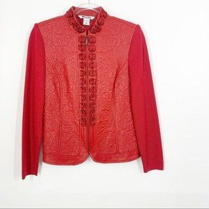 Nygard Collection Red Leather Jacket Rosettes